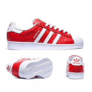 Soldes Adidas Superstar 2 Formateurs Blanc Royal Rouge