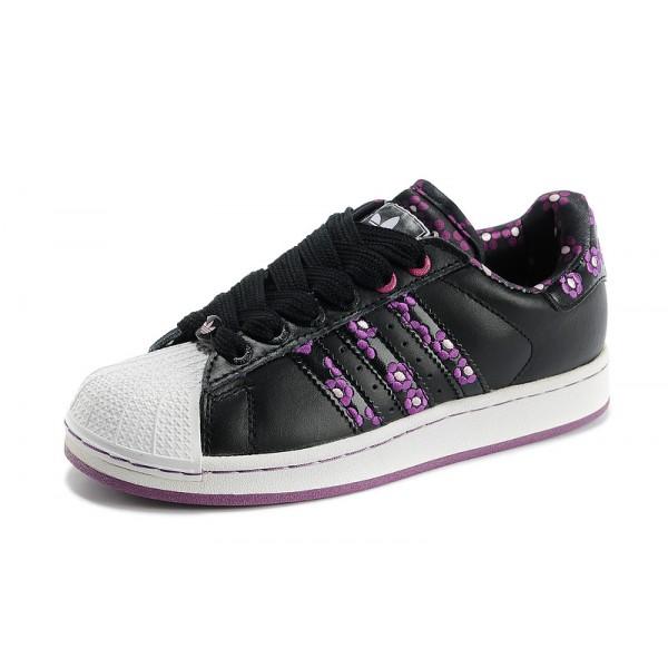 Chaussure Adidas Superstar Femme pas cher Plum Flower Noir