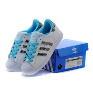 best loved faea5 d1b0b Chaussure Adidas Superstar Femme pas cher Blanc Bright Cyan