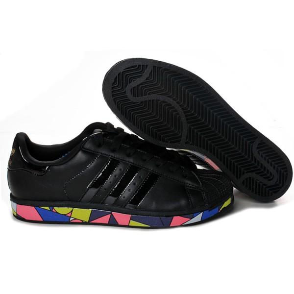 new style afdbb b0e3e Chaussure Adidas Superstar Femme Formateurs Multicolor Noir